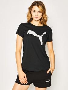 Czarny t-shirt Puma z krótkim rękawem z nadrukiem