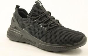 Czarne buty sportowe American Club z płaską podeszwą sznurowane ze skóry