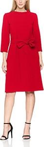 Czerwona sukienka amazon.de z długim rękawem w stylu casual z okrągłym dekoltem