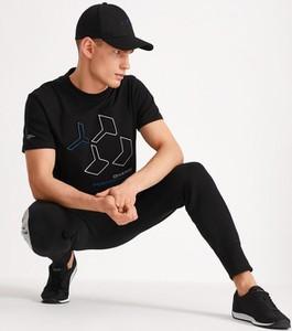 Czarny t-shirt Diverse z bawełny z nadrukiem w młodzieżowym stylu