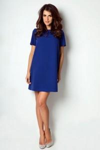Niebieska sukienka Ivon mini z krótkim rękawem