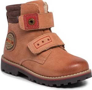 Pomarańczowe buty dziecięce zimowe Lasocki Kids na rzepy