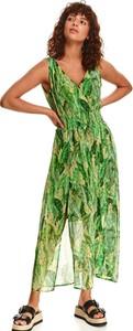 Zielona sukienka Top Secret maxi z dekoltem w kształcie litery v kopertowa