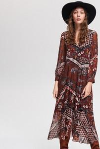 Sukienka Reserved w stylu boho midi z dekoltem w kształcie litery v