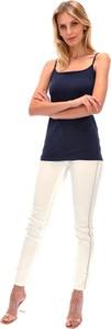 Granatowy top POTIS & VERSO z wełny w stylu casual z okrągłym dekoltem