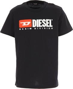Czarna koszulka dziecięca Diesel z bawełny
