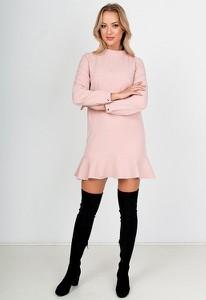 Sukienka Royalfashion.pl z długim rękawem z okrągłym dekoltem w stylu casual