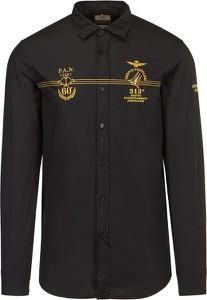 Czarna koszula Aeronautica Militare z długim rękawem z bawełny
