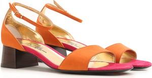 Pomarańczowe sandały Michel Vivien na obcasie