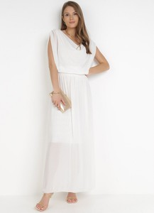 Sukienka born2be bez rękawów trapezowa z dekoltem w kształcie litery v