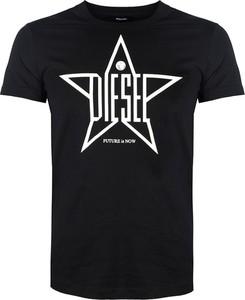 Czarny t-shirt Diesel w młodzieżowym stylu z krótkim rękawem