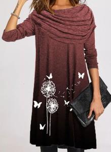 Sukienka Cikelly z długim rękawem koszulowa z okrągłym dekoltem