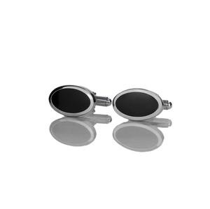 Em Men`s Accessories Spinki do mankietów klasyczne srebrne owalne z oczkiem EM 5