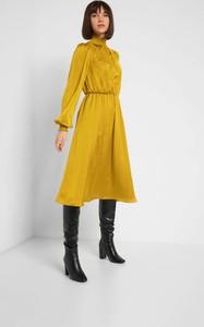 Żółta sukienka ORSAY z tkaniny z długim rękawem