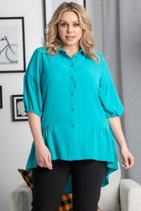 Niebieska tunika KARKO z tkaniny w stylu casual z długim rękawem