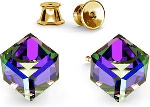 GIORRE SREBRNE KOLCZYKI KOSTKI SWAROVSKI 925 : Kolor kryształu SWAROVSKI - Crystal HEL, Kolor pokrycia srebra - Pokrycie Żółtym 24K Złotem
