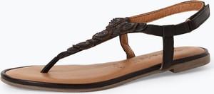 Sandały Tamaris z płaską podeszwą ze skóry