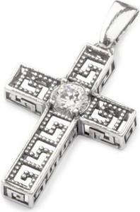 Polcarat Design Krzyżyk srebrny zdobiony cyrkonią W 1191 : Kolor - Biały