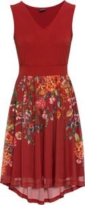 Sukienka bonprix BODYFLIRT z dżerseju z dekoltem w kształcie litery v midi