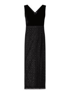 Czarna sukienka Christian Berg Cocktail z tiulu bez rękawów z dekoltem w kształcie litery v