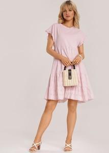 Różowa sukienka Renee z okrągłym dekoltem