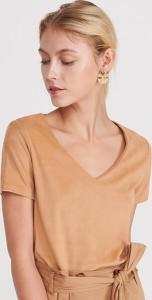 Brązowy t-shirt Reserved w stylu casual