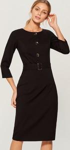 Czarna sukienka Mohito z długim rękawem z okrągłym dekoltem midi