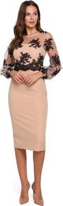 Sukienka Makeover midi prosta z okrągłym dekoltem