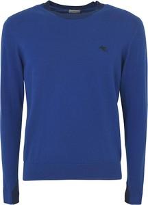 Niebieski sweter Etro z okrągłym dekoltem w stylu casual z wełny