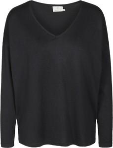 Czarna bluzka Kaffe z długim rękawem w stylu casual