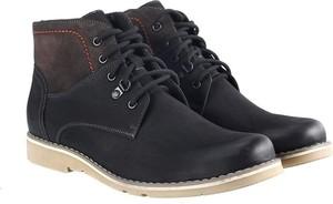 Czarne buty zimowe Domeno sznurowane