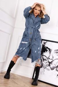 Niebieski płaszcz Miss City Official z jeansu