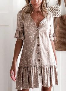 Sukienka Sandbella z dekoltem w kształcie litery v w stylu boho z długim rękawem
