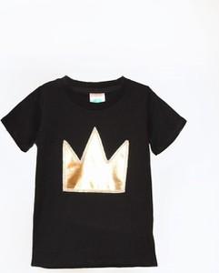 Czarna koszulka dziecięca Little Gold King z krótkim rękawem