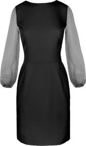 Czarna sukienka Makover mini z tkaniny z długim rękawem