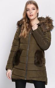 Zielona kurtka born2be długa w stylu casual