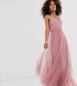 Różowa sukienka Asos z tiulu na ramiączkach