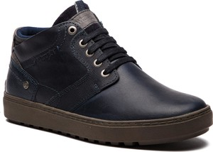 Czarne buty zimowe Wrangler sznurowane ze skóry