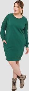 Zielona sukienka Blue Shadow z okrągłym dekoltem w stylu casual mini
