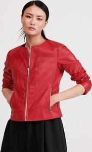 Czerwona kurtka Reserved ze skóry w stylu casual krótka