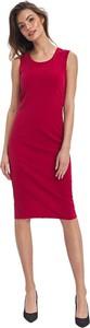 Czerwona sukienka Colett z okrągłym dekoltem ołówkowa