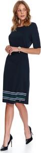Granatowa sukienka Top Secret z okrągłym dekoltem midi