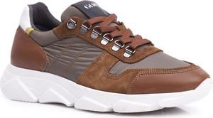Brązowe buty sportowe Goe ze skóry