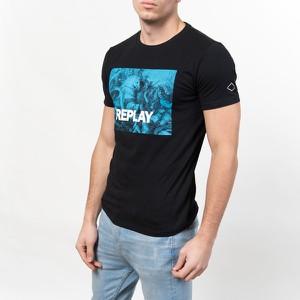 Czarny t-shirt Replay z bawełny