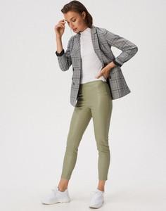 Zielone legginsy Sinsay w rockowym stylu ze skóry ekologicznej