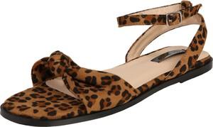 Brązowe sandały Lost Ink z klamrami z nadrukiem