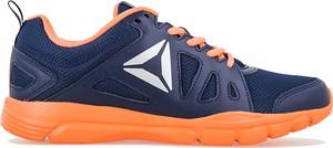 Granatowe buty sportowe Reebok ze skóry ekologicznej z płaską podeszwą w sportowym stylu