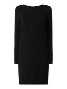 Czarna sukienka Vila z długim rękawem z dzianiny prosta