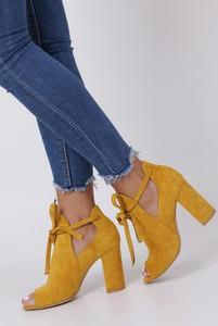 Żółte botki Casu sznurowane