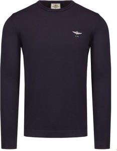Granatowy sweter Aeronautica Militare z bawełny